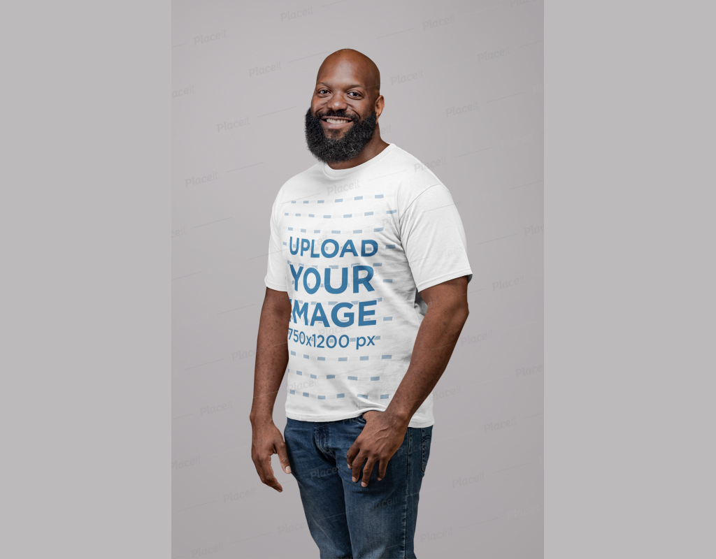 Place logos and images on our psd mockup and edit them with our easy to use smart objects for photoshop. Man With Beard Wearing T Shirt Mockup Generator Mockup World