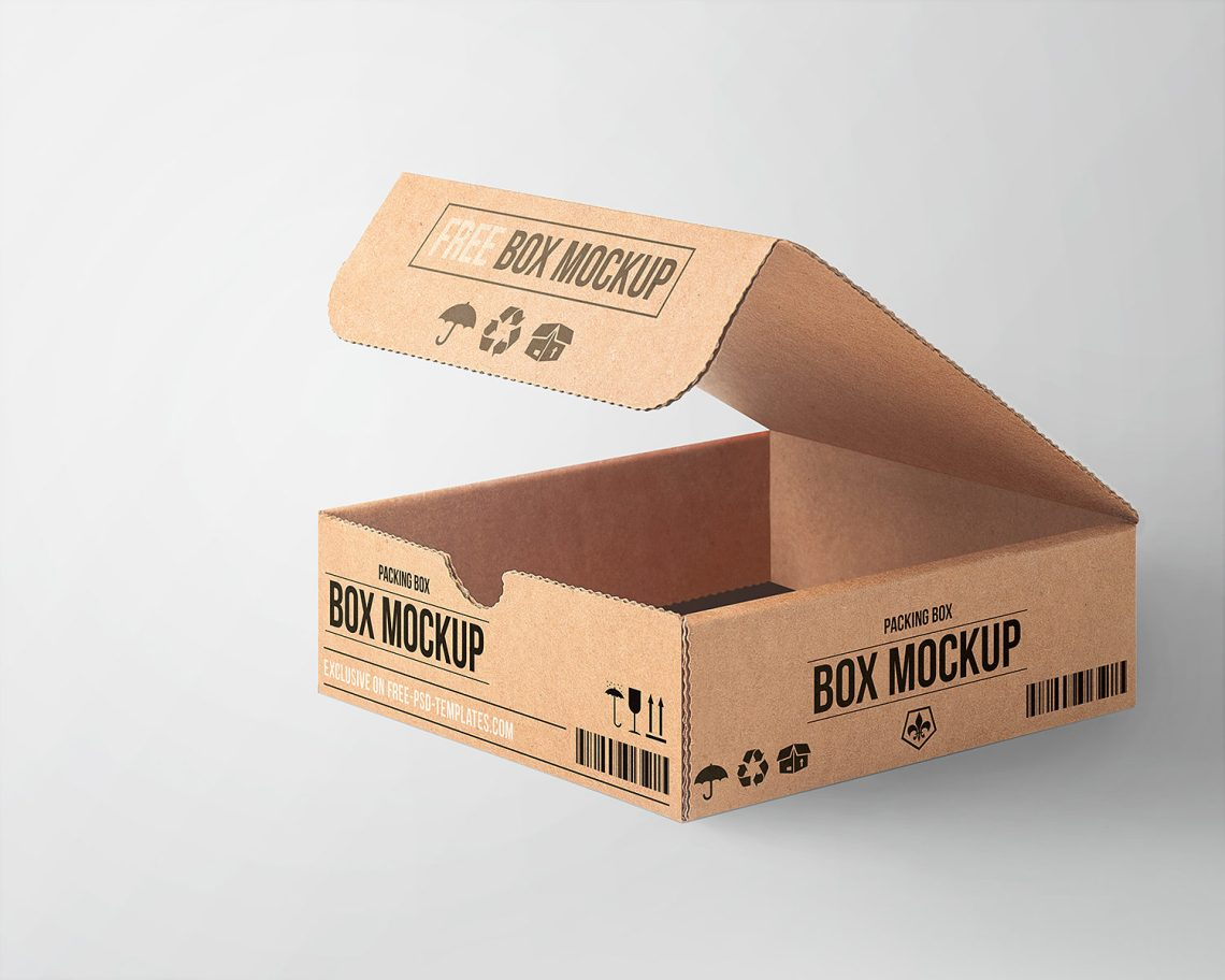Download Free Cardboard Box Mockup   Mockup World HQ