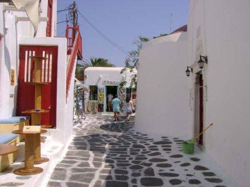 Greek island Mykonos Matogianni street