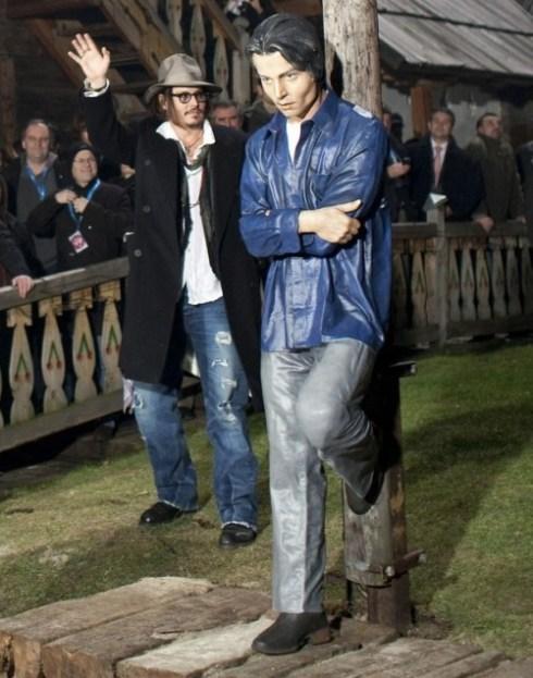 Johnny Depp a life-sized statue in Drvengrad, an art village within a mountain village of Mokra Gora, Serbia.