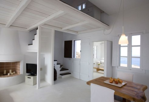 interior of the Beautiful villa in Santorini Greece 2