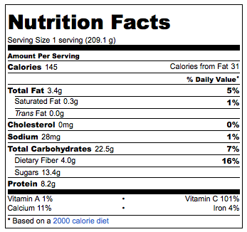 nutrition information for the strawberry banana dessert