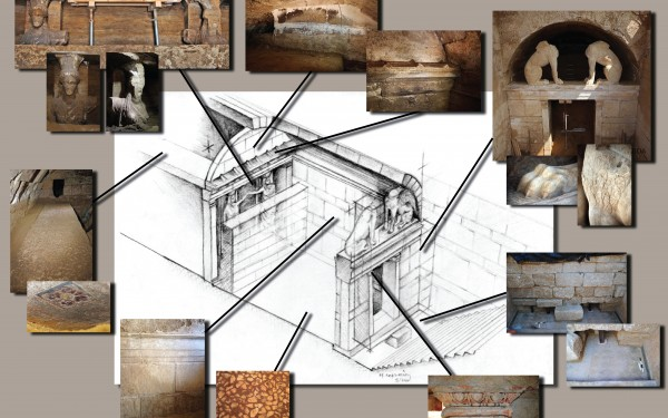Interior of the tomb in Amphipolis, axonometric projection
