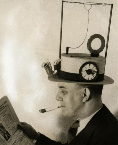 strange old timey inventions, radio hat