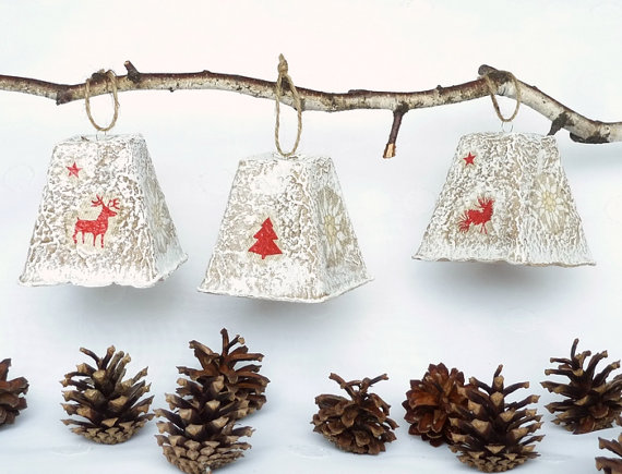 diy christmas ornament, christmas bells decoupage