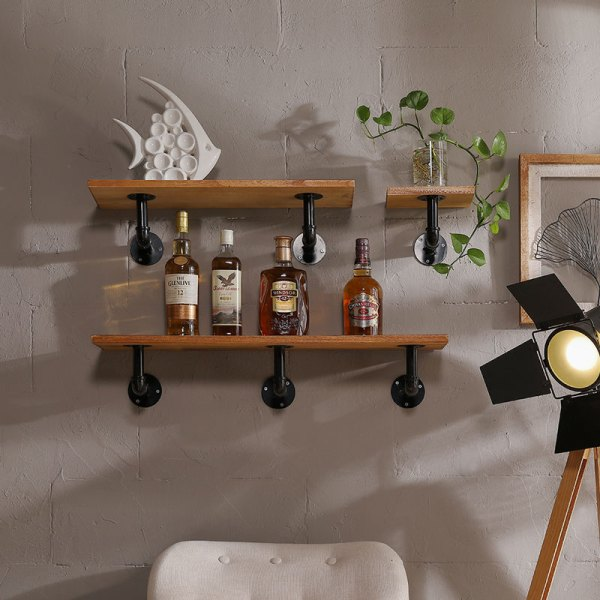 Calypso Industrial Floating Pipe Wall Shelves