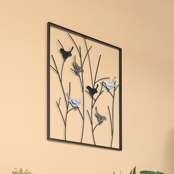 Mocome Framed Metal Bird On Tree Branch Wall Decor
