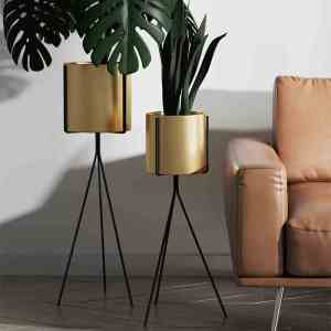 Mason Set Of 2 Metal Bottom Triangular Plant Stands With Pot