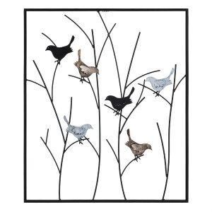 Mocome Framed Metal Bird On Tree Branch Wall Decor
