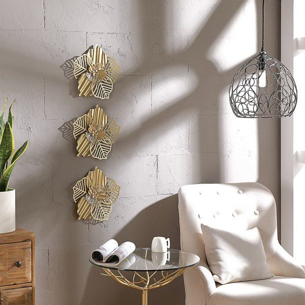 Mocome Metal Flower Wall Art Golden Home Decorative