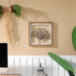 Rustic Wood Framed and Wire Ginkgo Leaf Wall Decor