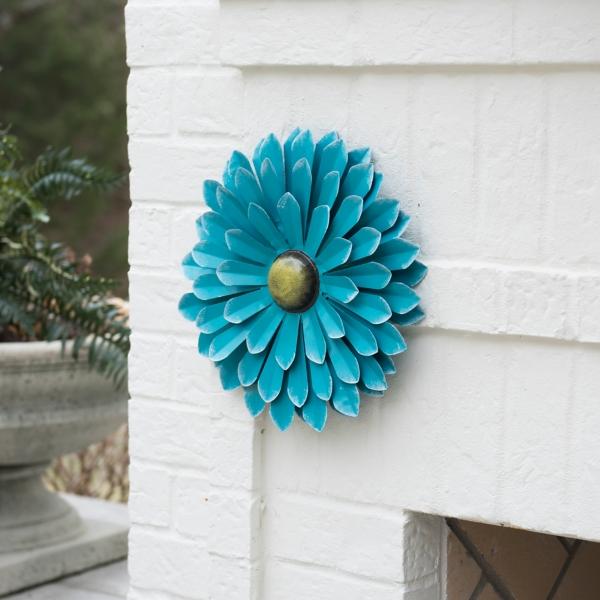 Outdoor Wall Decor - Blue Metal Flower Wall Decor