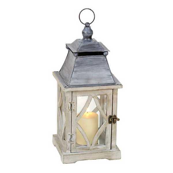 Candle Lanterns - Rustic White and Gray Lantern