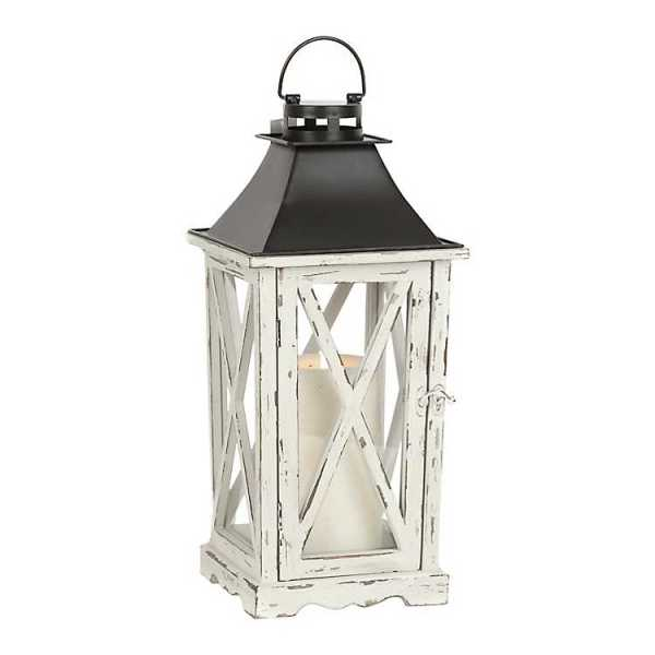 Candle Lanterns - Distressed Cream Lantern