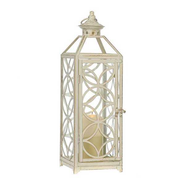 Candle Lanterns - Antique White Trellis Metal Lantern