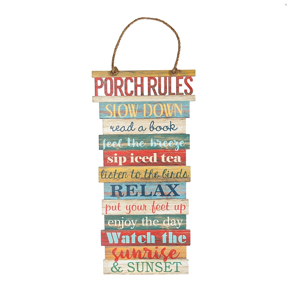 Outdoor Wall Decor - Porch Rules Hanging Wood Plank Plaque