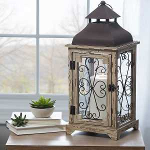 Candle Lanterns - Distressed Cream Antique Scroll Lantern