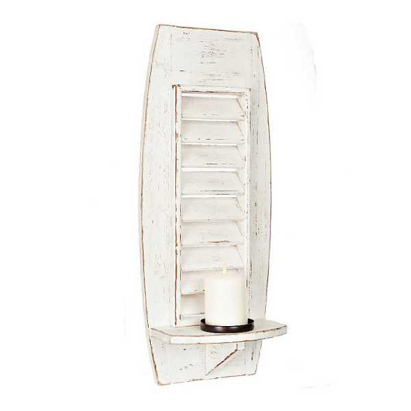 Wall Sconces - Whitewashed Wood Shutter Sconce