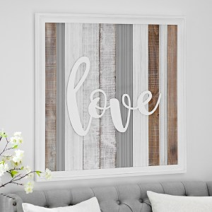 Love Washed Planks Wooden Wall Decor