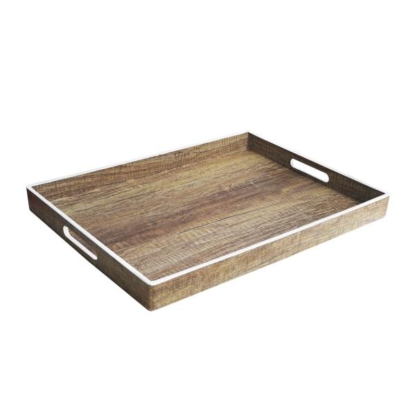 Decorative Trays - Poplar White Rim Decorative Tray
