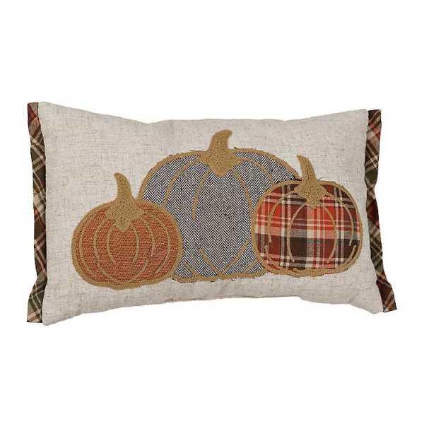 Throw Pillows - Plaid Pumpkins Stitched Accent Pillow