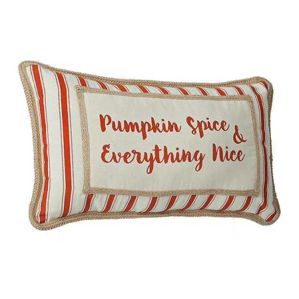 Throw Pillows - Striped Pumpkin Spice Harvest Pillow