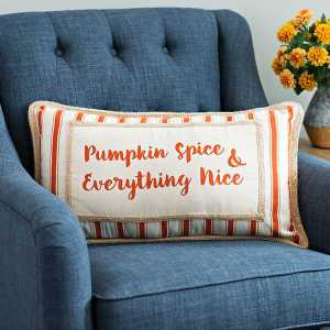 Throw Pillows - Striped Pumpkin Spice Harvest Pillow