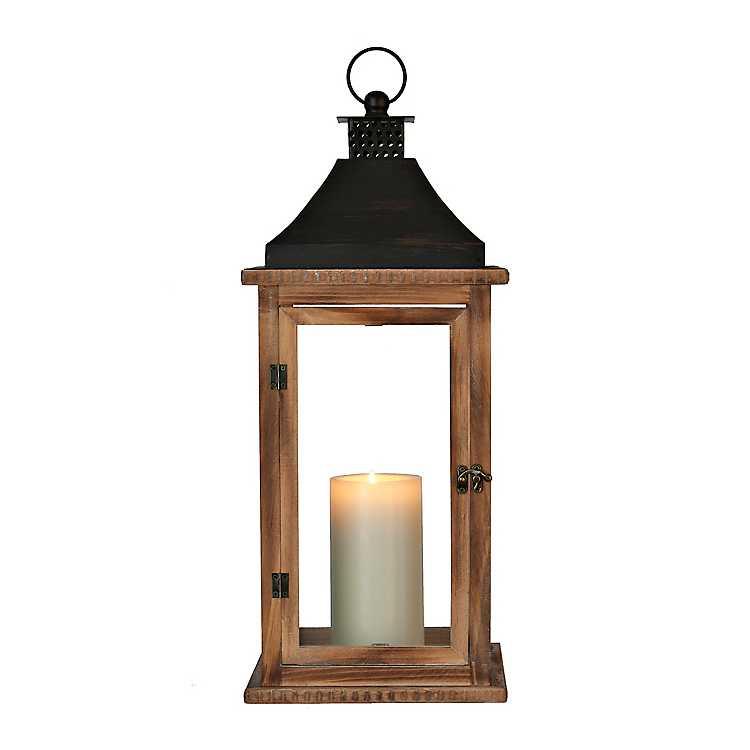 Candle Lanterns Brown Martin Wood And Metal Lantern Mocome Decor