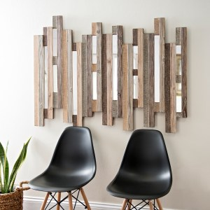 Natural Wooden Planks Mirrored Wall Decor