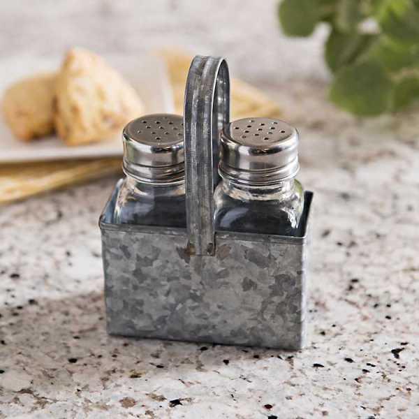Kitchen Accessories - Galvanized Metal Salt and Pepper Set