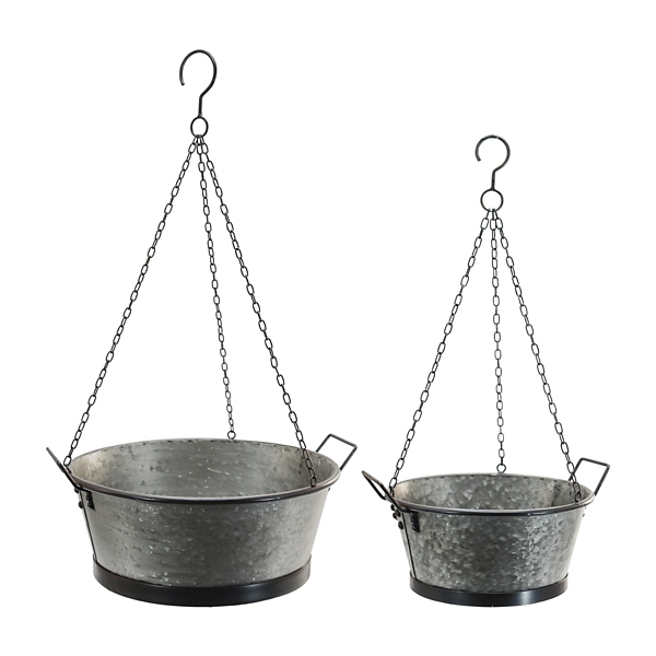 Garden Decor - Galvanized Metal Hanging Bucket Planters