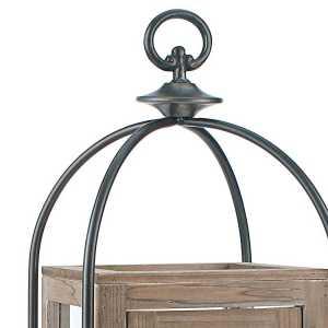 Candle Lanterns - Distressed Wood and Metal Pillar Lantern