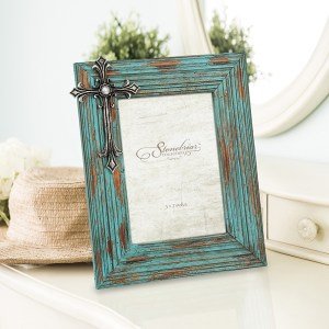 Picture Frames - Worn Turquoise Wood with Jeweled Cross Frame, 5x7