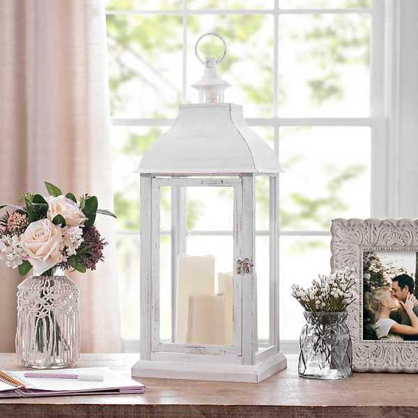 Candle Lanterns - White LED Pillar Candle Lantern