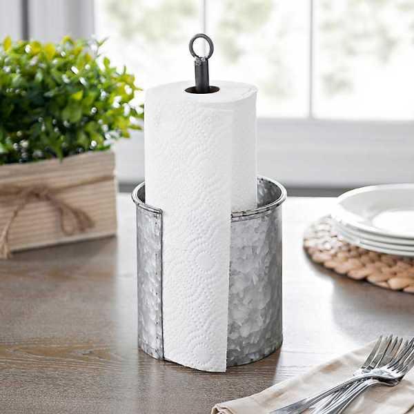 Kitchen Accessories - Galvanized Metal Paper Towel Holder