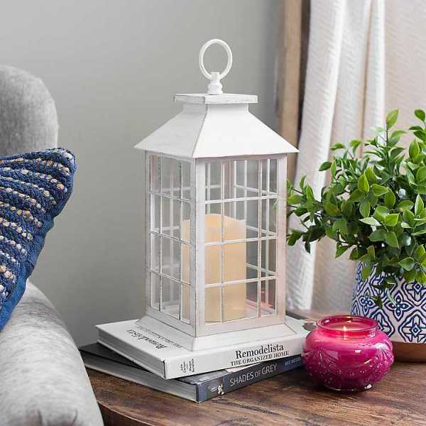 Candle Lanterns - Golden White LED Pillar Candle Lantern