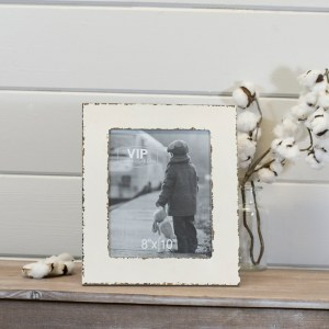 Picture Frames - White Distressed Wood Wall Picture Frame, 8x10