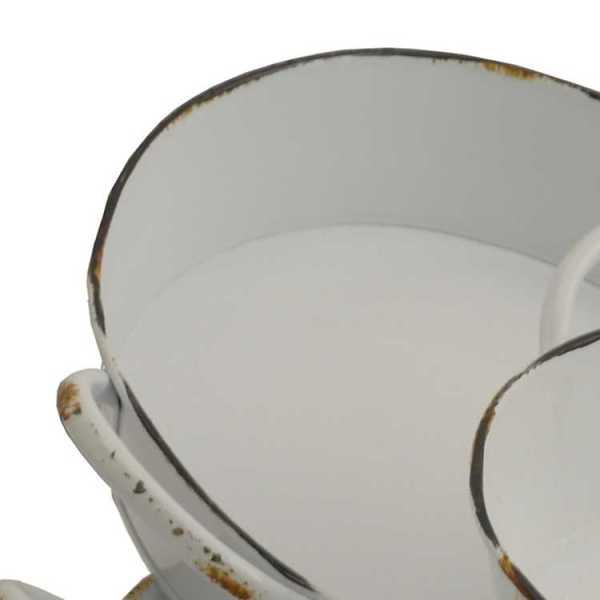 Serving Trays - Round White Enamel Trays