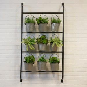 Garden Decor - Metal Wall Planter with Hanging Galvanized Buckets