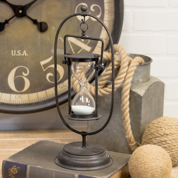 Statues & Figurines - Metal Old World Style Hourglass