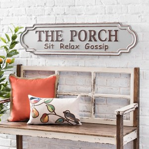 Outdoor Wall Decor - Galvanized Metal Porch Plaque
