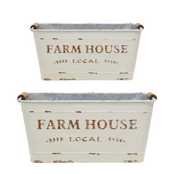 Baskets & Boxes - White Farmhouse Rectangular Buckets
