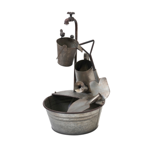 Garden Decor - Electric Galvanized Gardening Tools Fountain