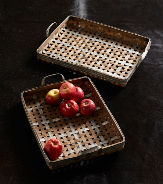 Decorative Trays - Woven Bamboo and Metal Trays