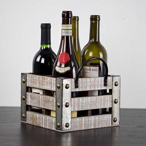 Baskets & Boxes - Whitewashed Wood Slat Square Wine Crate
