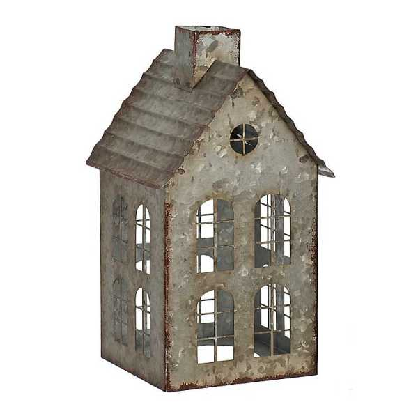 Candle Holders - Galvanized House Pillar Candle Holder, 10 in.