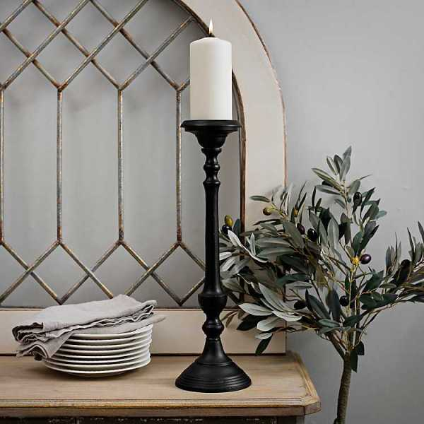 Candle Holders - Black Metal Tapered Candle Holder, 18 in.