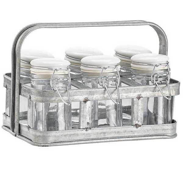 Kitchen Accessories - Galvanized Metal Spice Jar Caddy