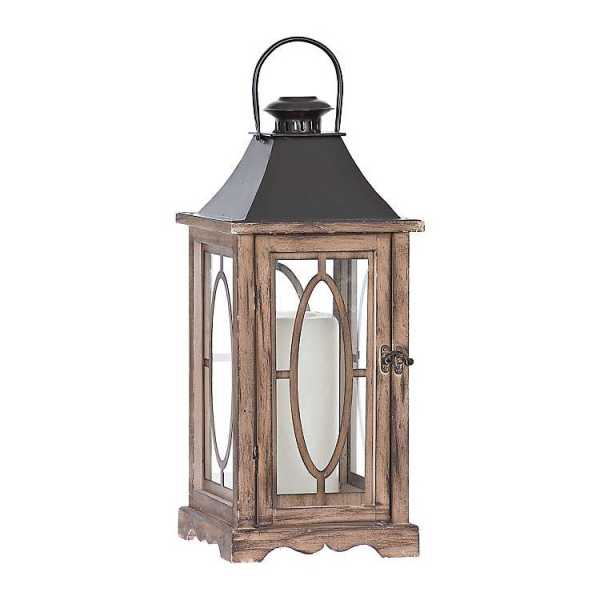 Candle Lanterns - Braylyn Brown Wood and Metal Lantern