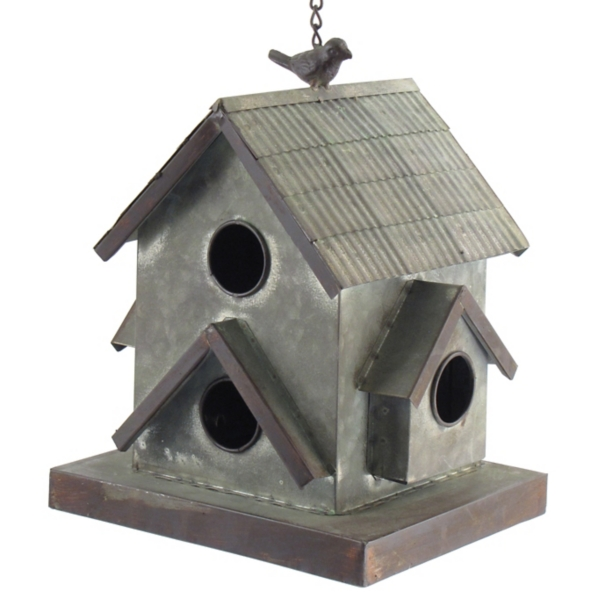 Garden Decor - Galvanized Hanging Multi-Opening Birdhouse